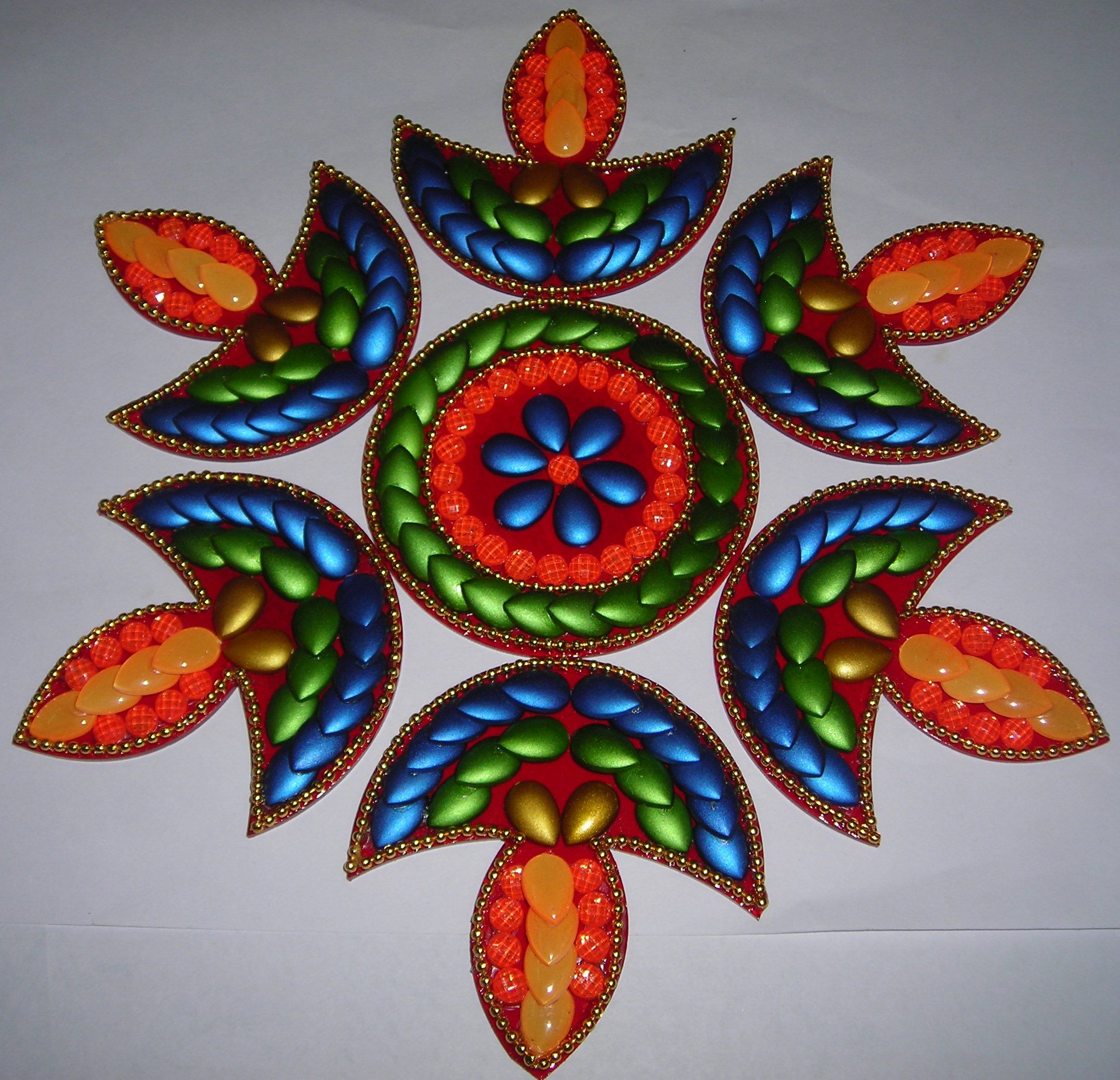 Buy 6 pcs diya shape acrylic rangoli for diwali