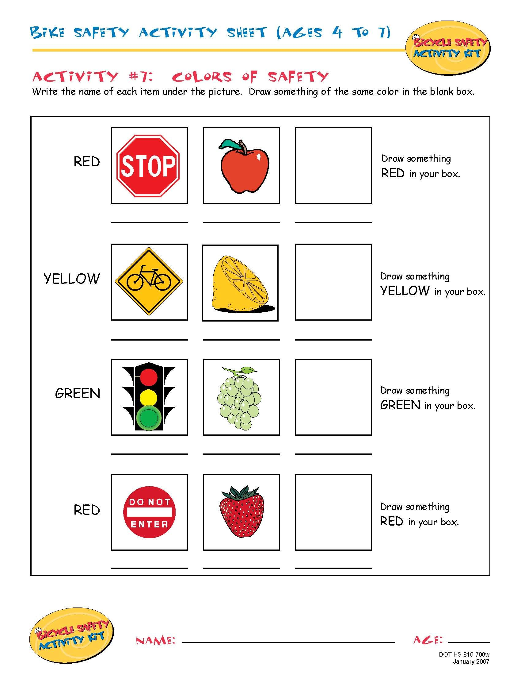 Bike Safety Activity Sheet Ages 4 To 7 Colors Of Safety