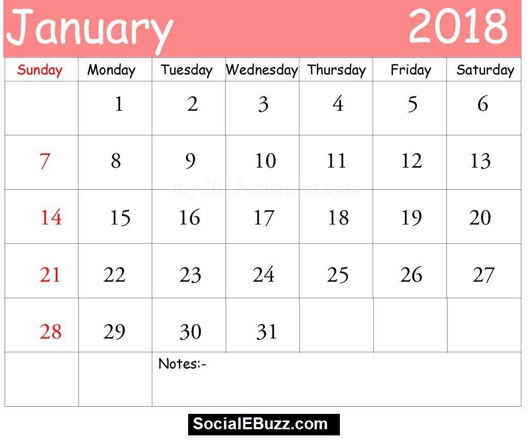 January Calendar Printable Template January Calendar January Calendar