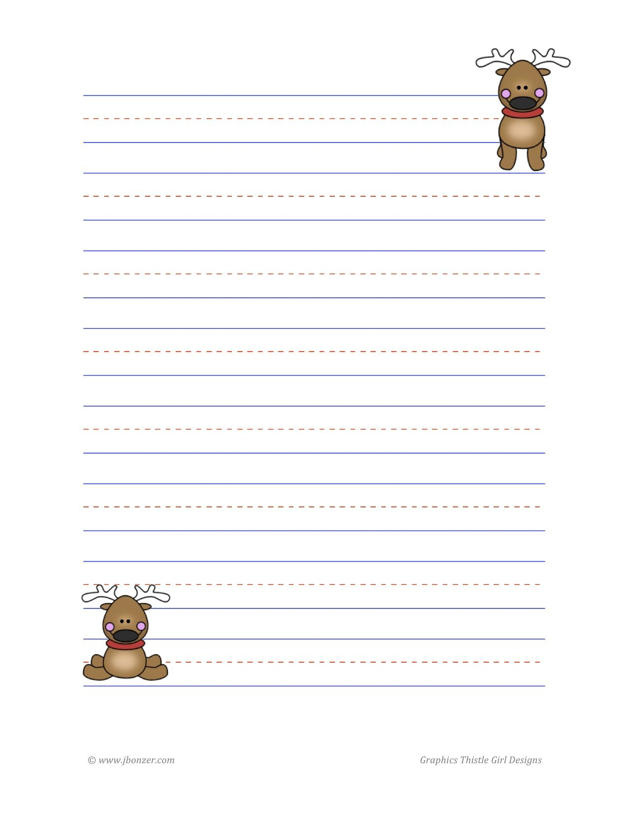 Reindeer Lined Writing Paper