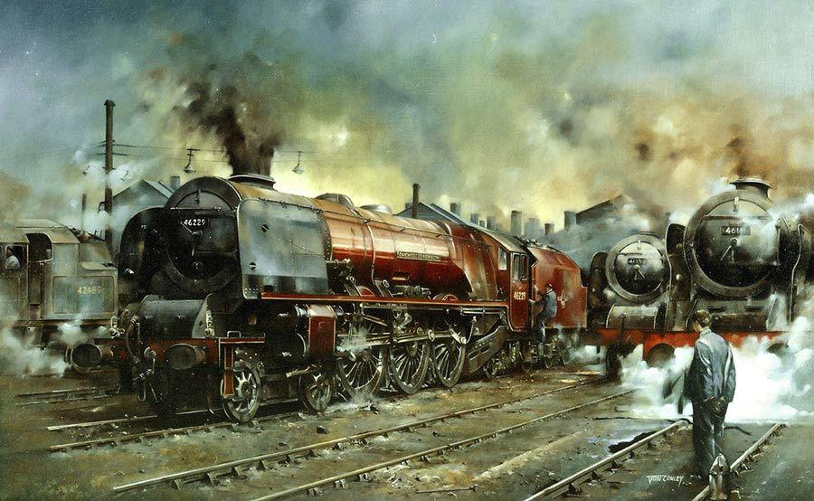Painting Of An LMS Duchess Class Steam Loco16 Train