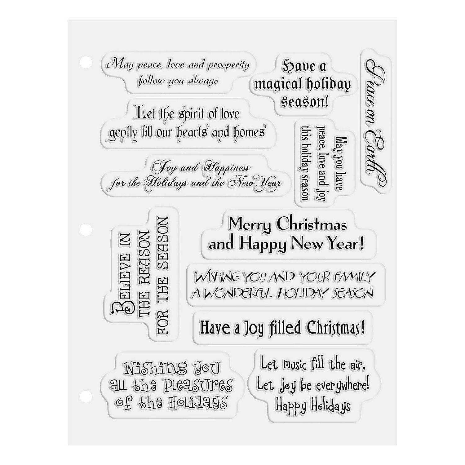 Christmas Card Sayings Clear Stamps