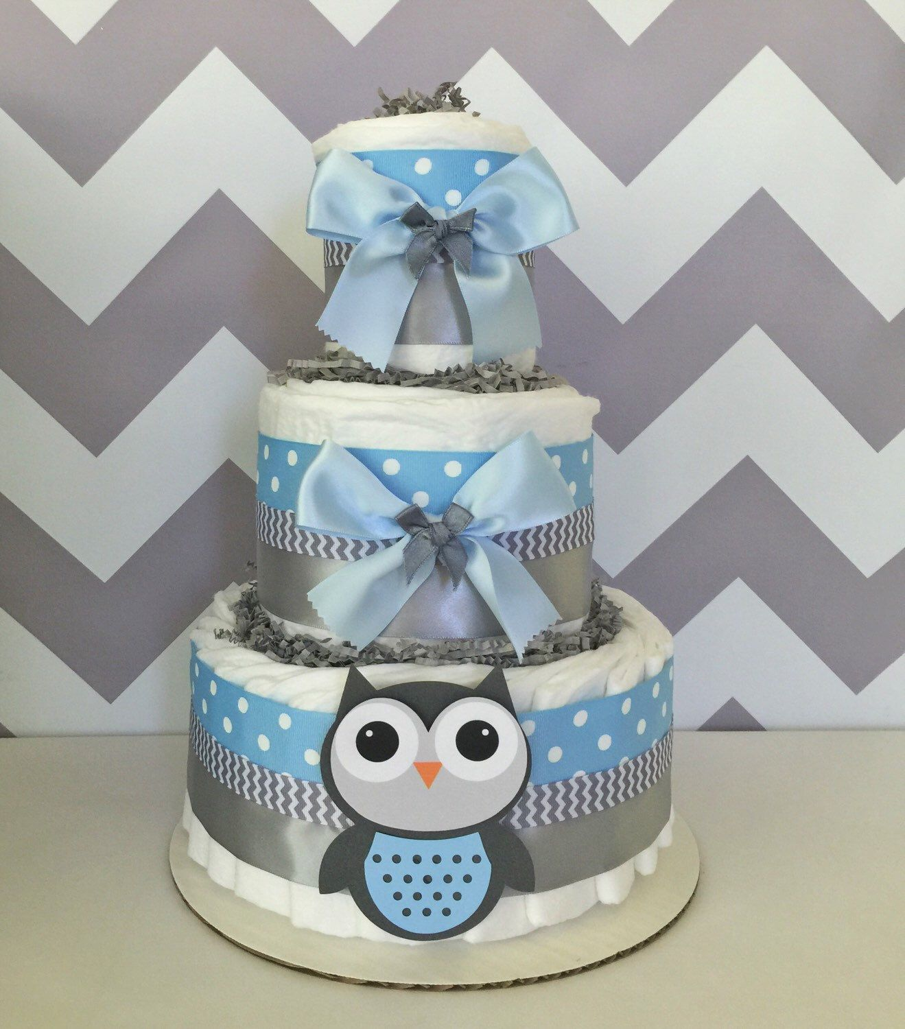 Deluxe Owl Diaper Cake In Blue And Gray Owl Baby Shower