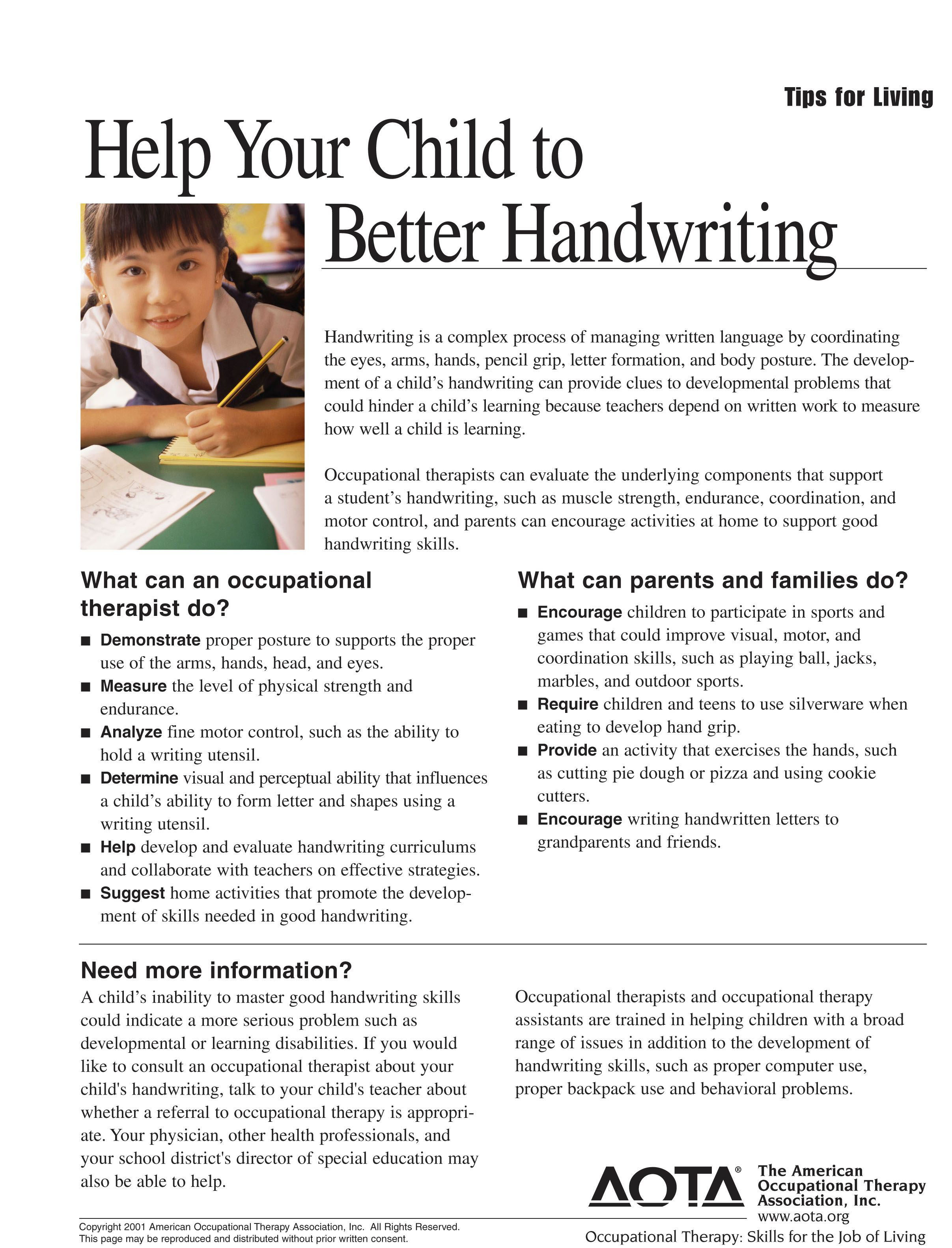This Handwriting Worksheet Shows What Occupational Therapists And Parents Families Can Do To