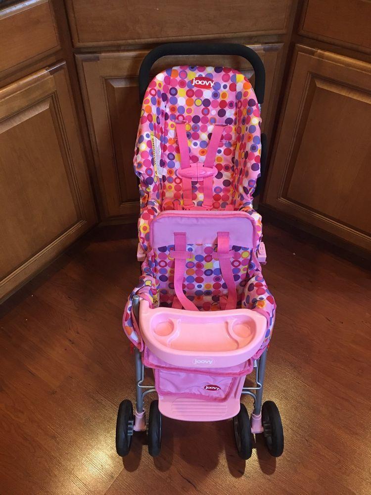 Joovy Toy Baby Doll Caboose Tandem Stroller Pink Dot + Car