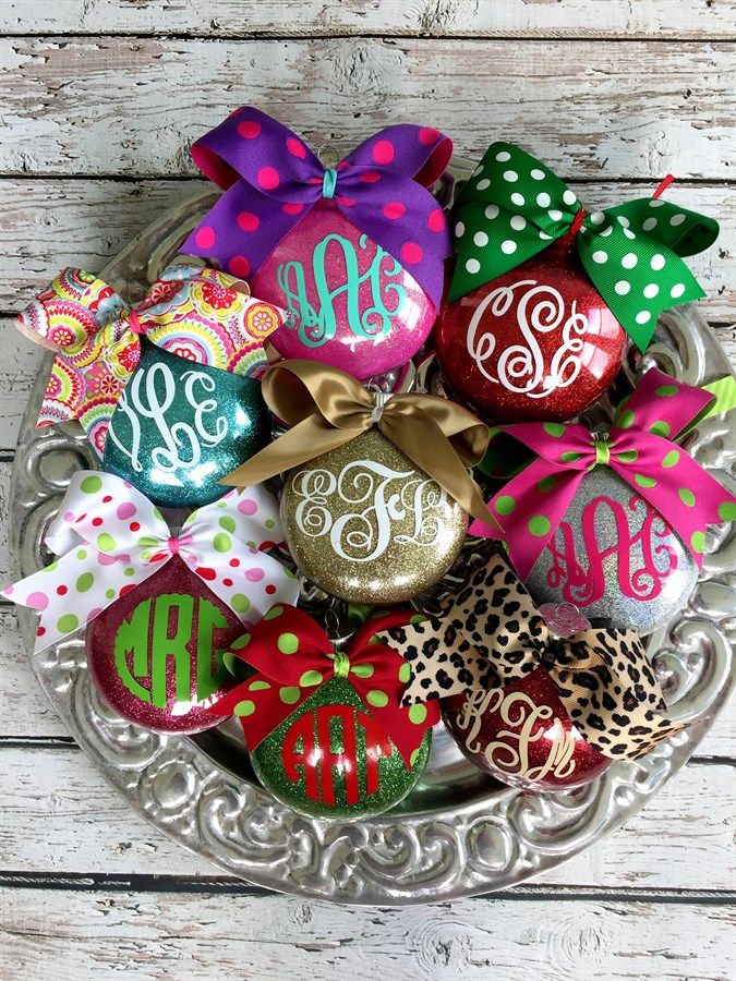 Personalized Monogrammed Glitter Ornaments Glitter