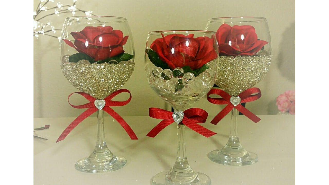 DIY DOLLAR TREE WINE AND ROSE GLASS DECOR HAND