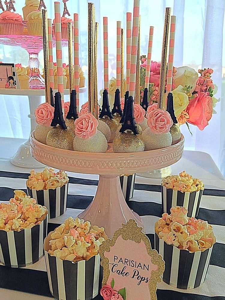 French / Parisian Birthday Party Ideas Sparkly cake