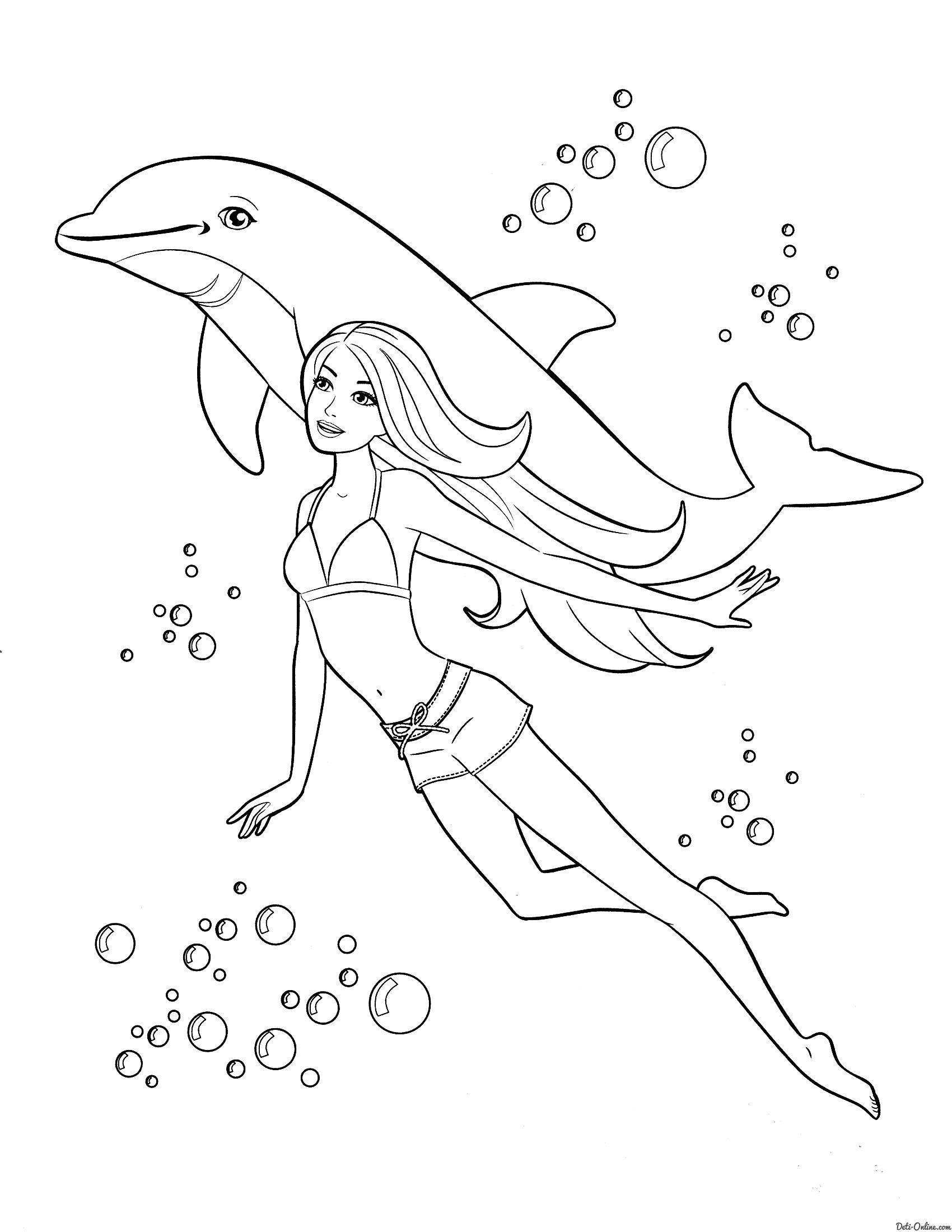 Раскраска Барби с дельфином раскраски Pinterest