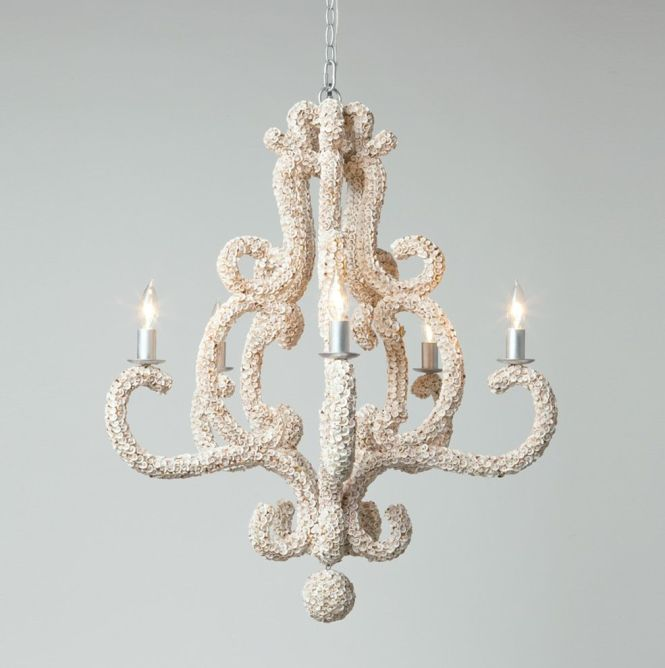 Oceana White Shell Chandelier With Ball Drop And 5 Lights Also Available As 10 Light