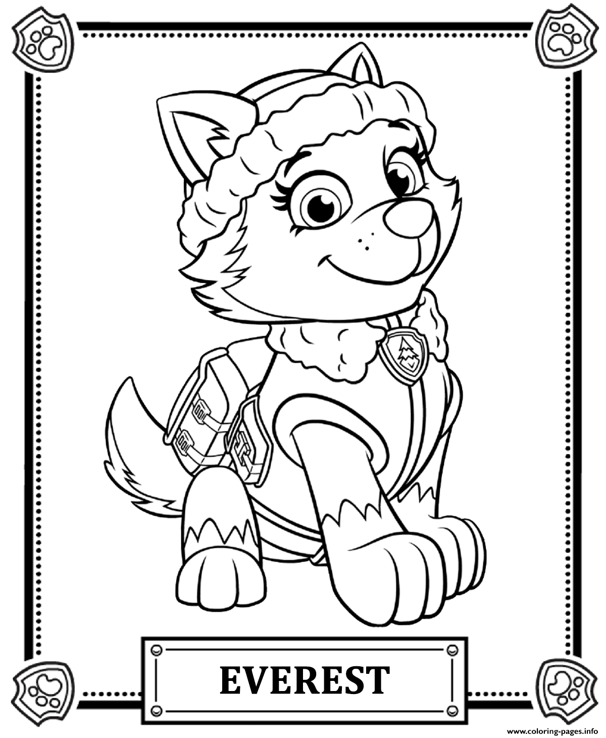 Print paw patrol everest coloring pages Brandon's 3rd