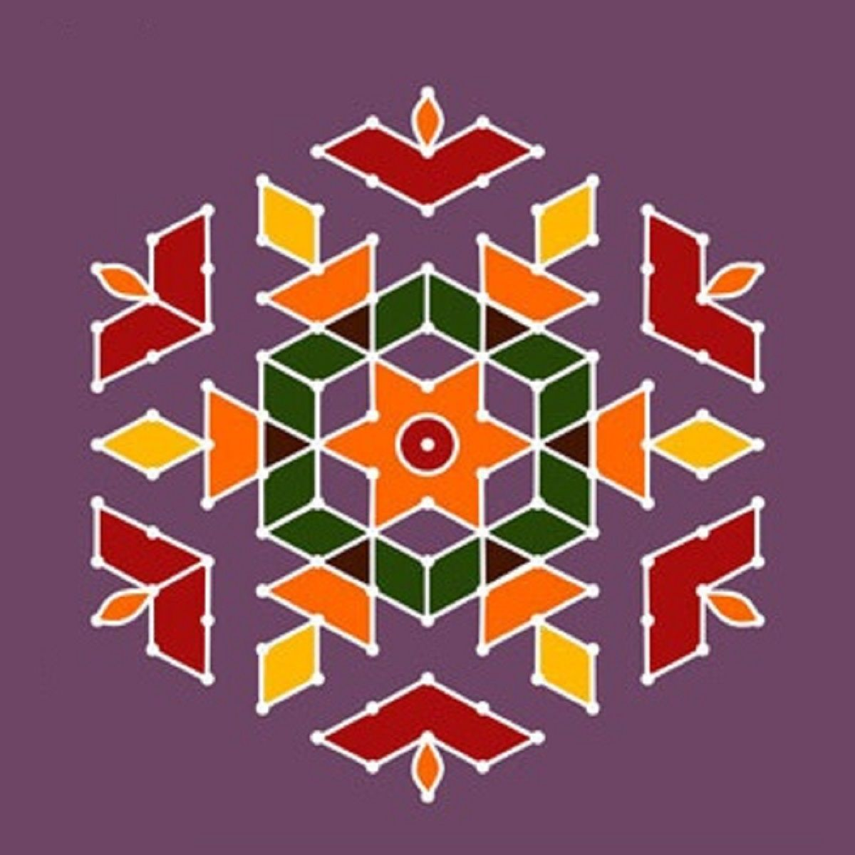 Simple dot rangoli design Rangoli Designs Pinterest