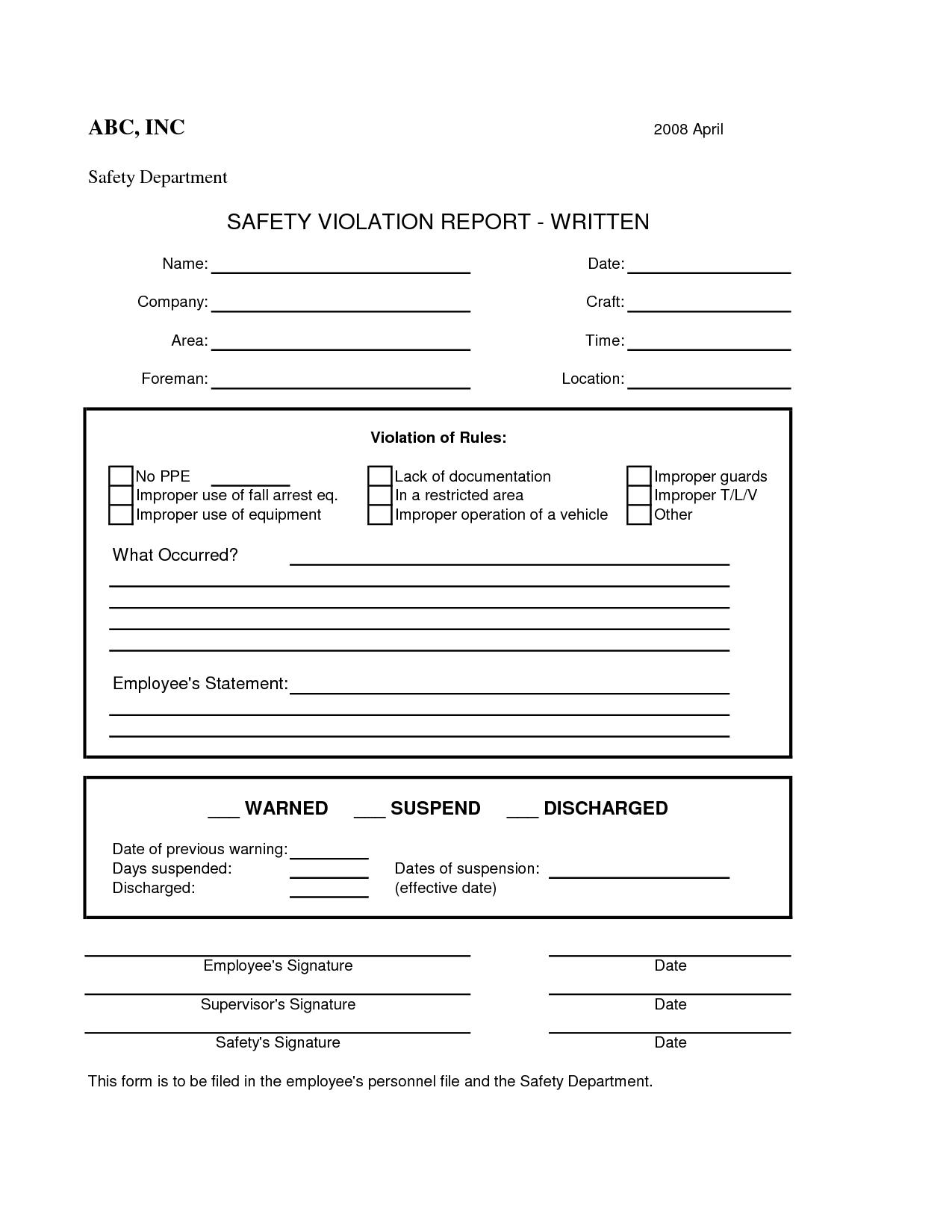 Safety Violation Form
