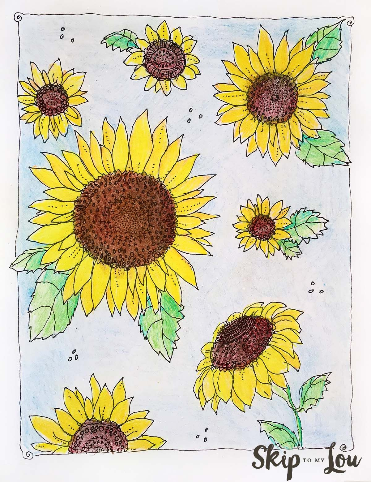 Sunflower coloring page! We're celebrating Kansas day at