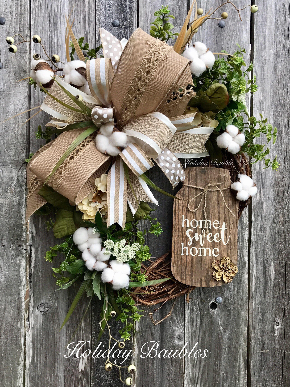 Home Sweet Home Wreath Mason Jar Wreath Farmhouse Cotton