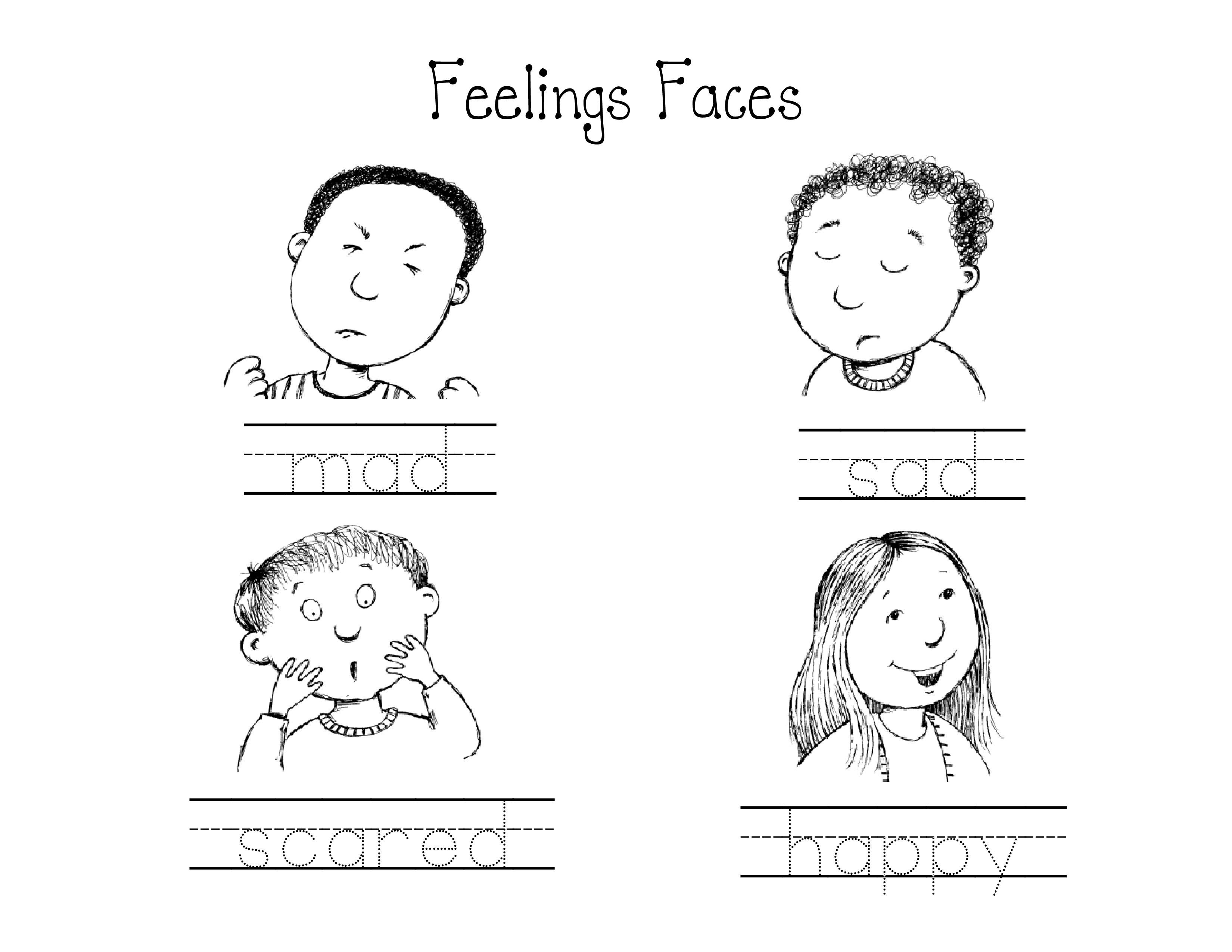Kindergarten Feelings Faces Worksheet