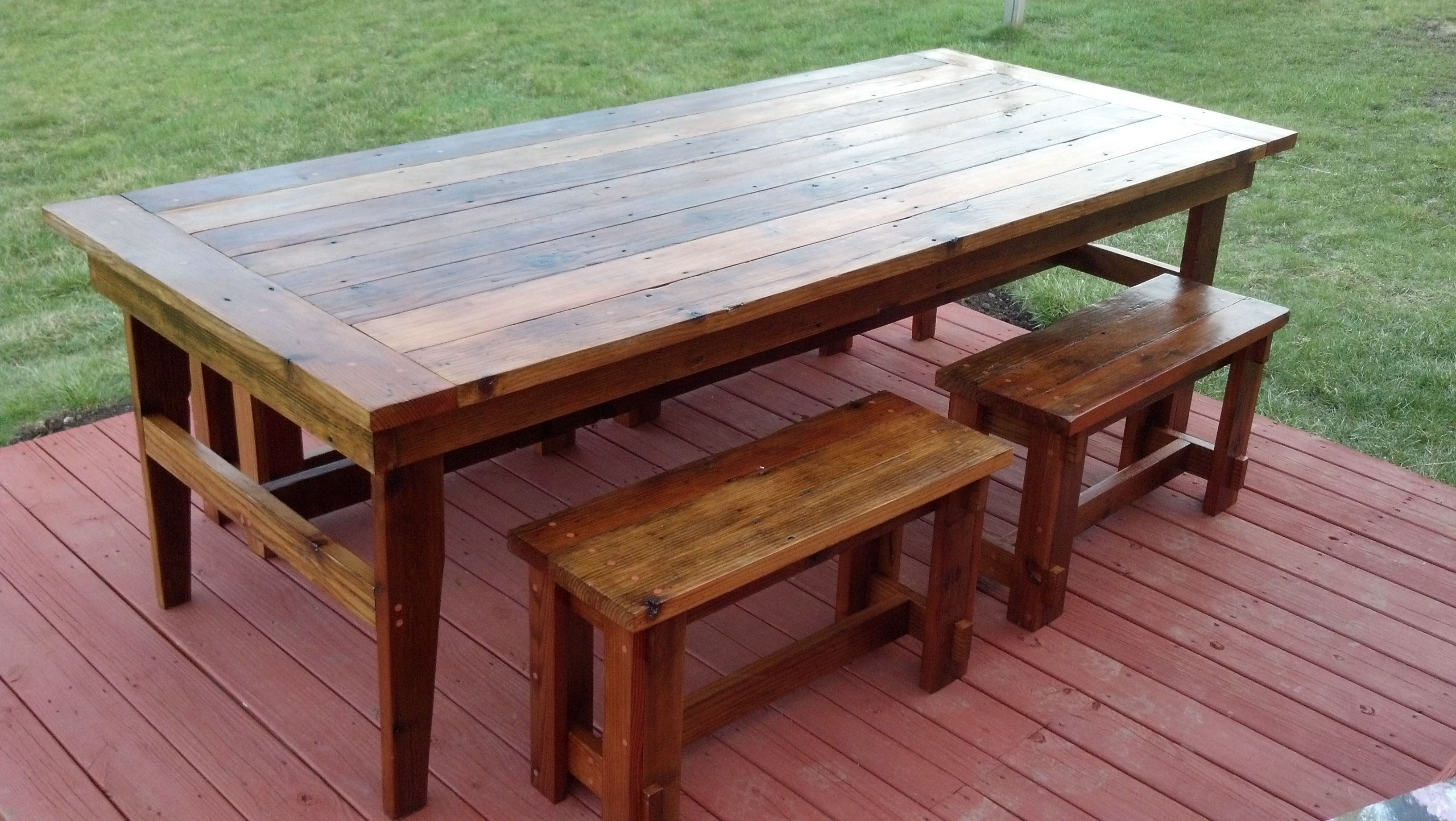 Rustic Farm Table & Benches plans Around the House