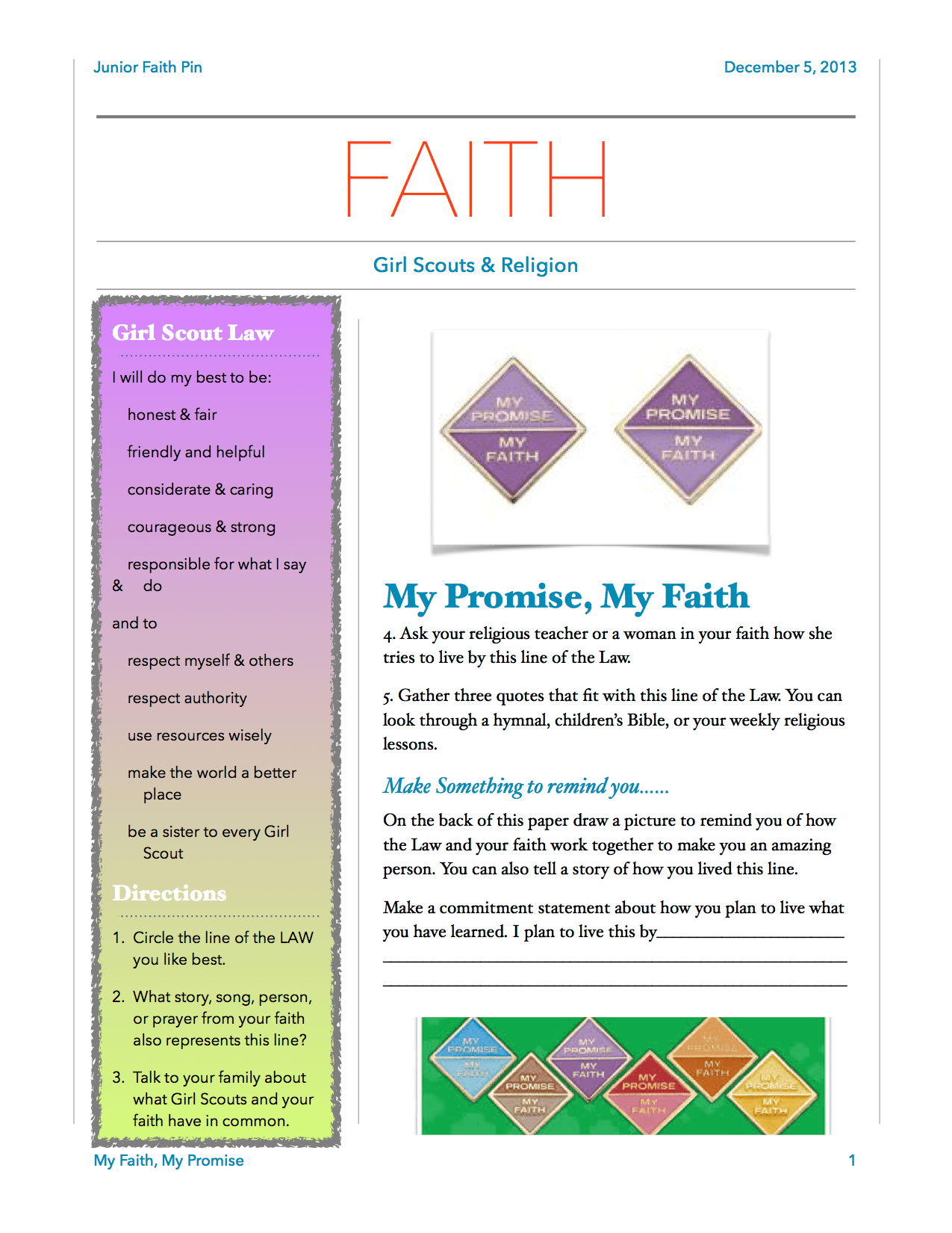 My Faith Pg 1 This Is An Easy Worksheet To Help Girls Earn Their My Faith My Way Pin
