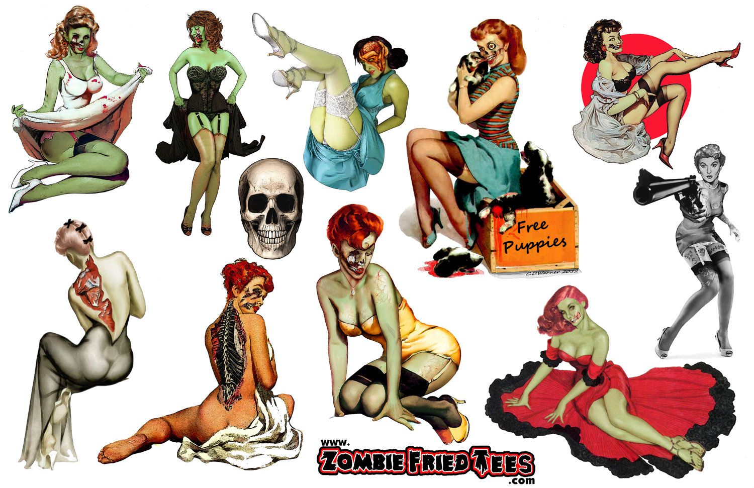 Mens Pin Up Stickers Vintage Zombie Pinups
