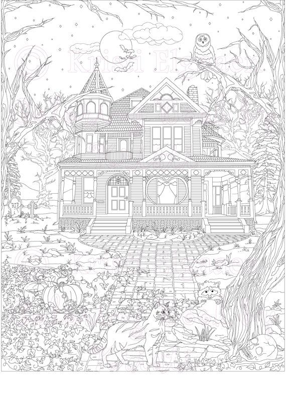 Haunted House, Victorian House, Adult Coloring Page