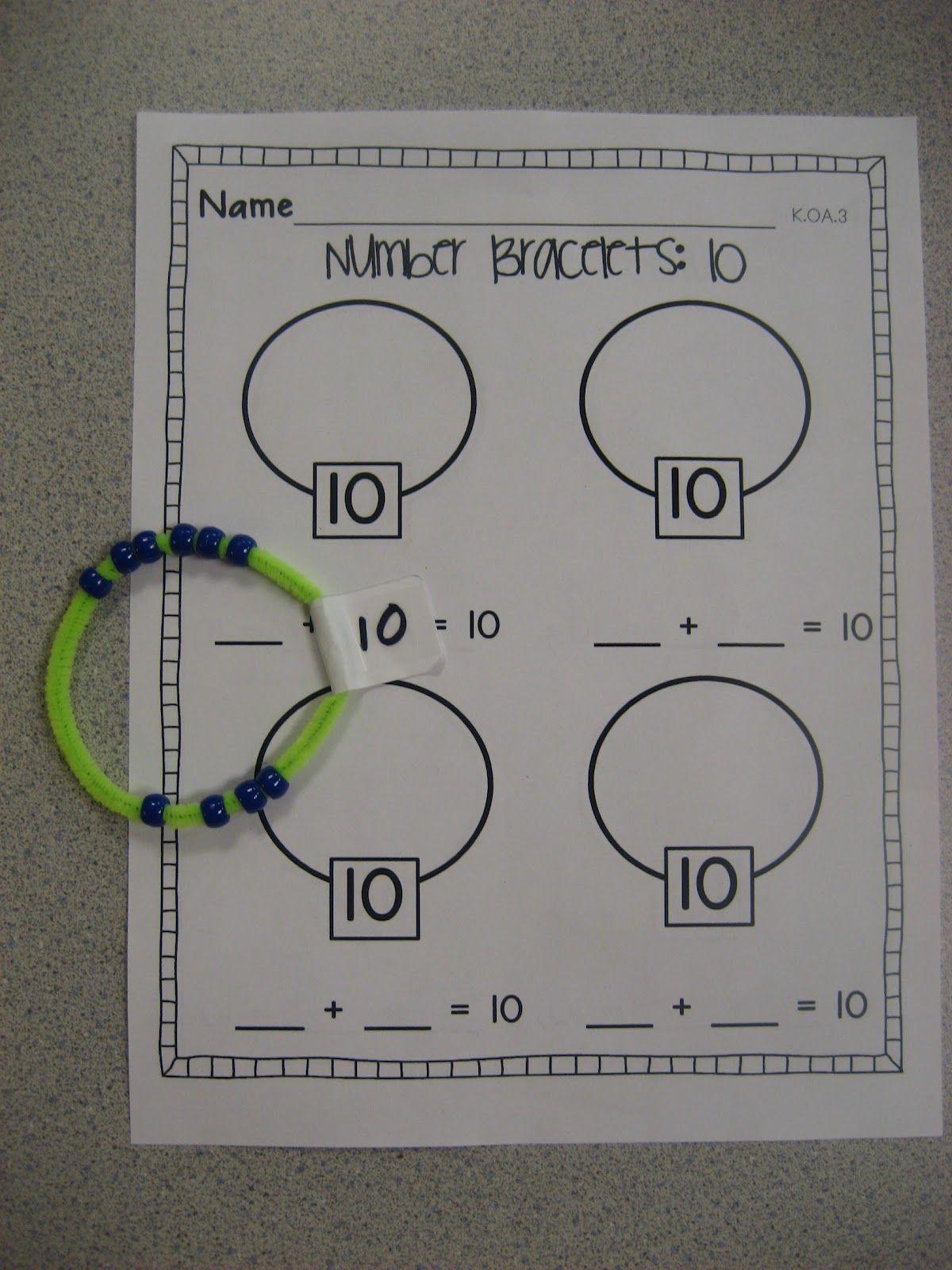 Number Bracelets Common Core K Oa 3