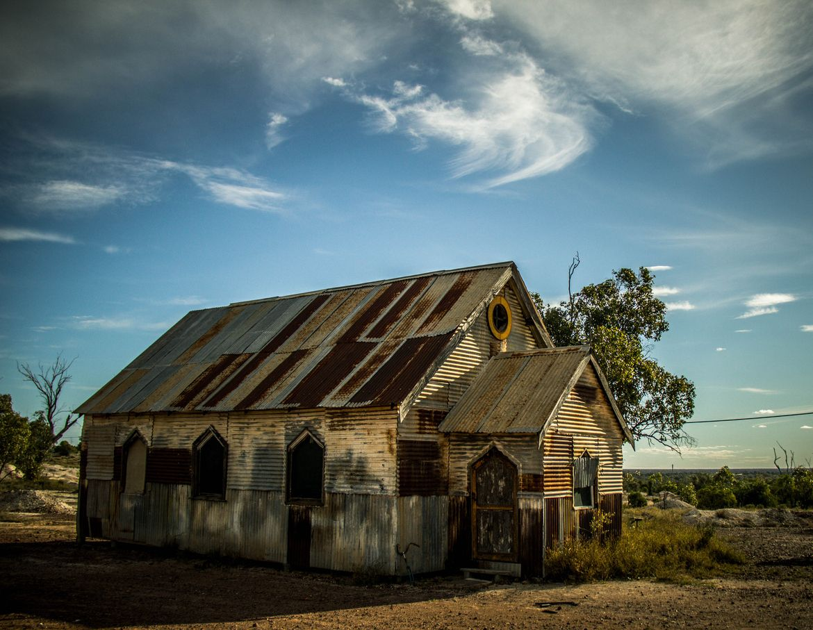 An old church in the outback of Australia, located in Opal