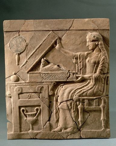 Pinax of a Seated Woman Opening a Box 5 BC: