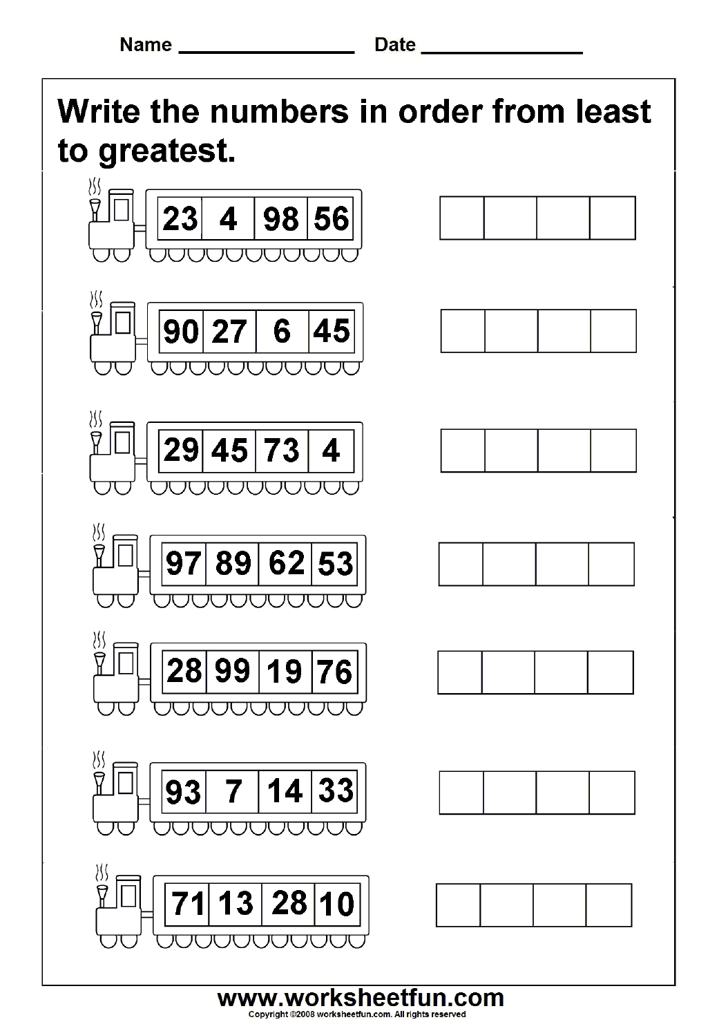 Worksheet Ordering Numbers