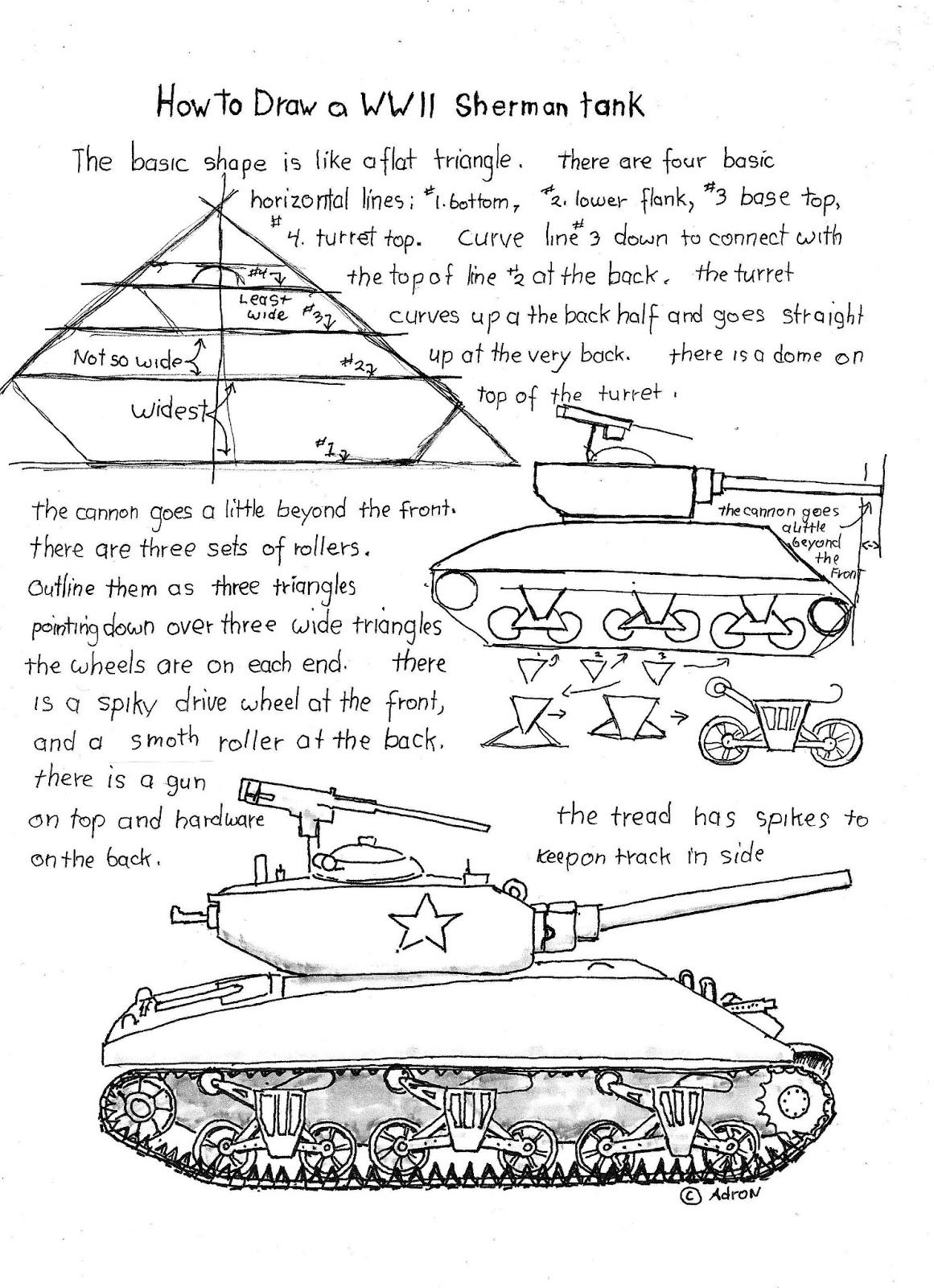 How To Draw A Wwii Sherman Tank Worksheet Read The