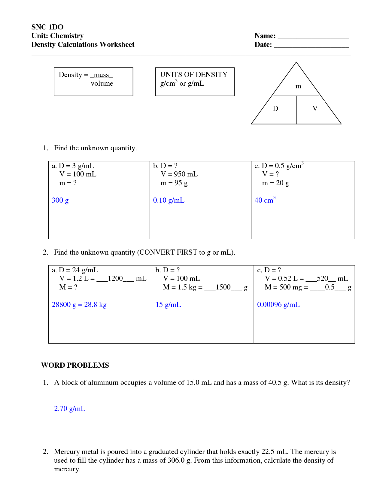 Density Worksheets With Answers