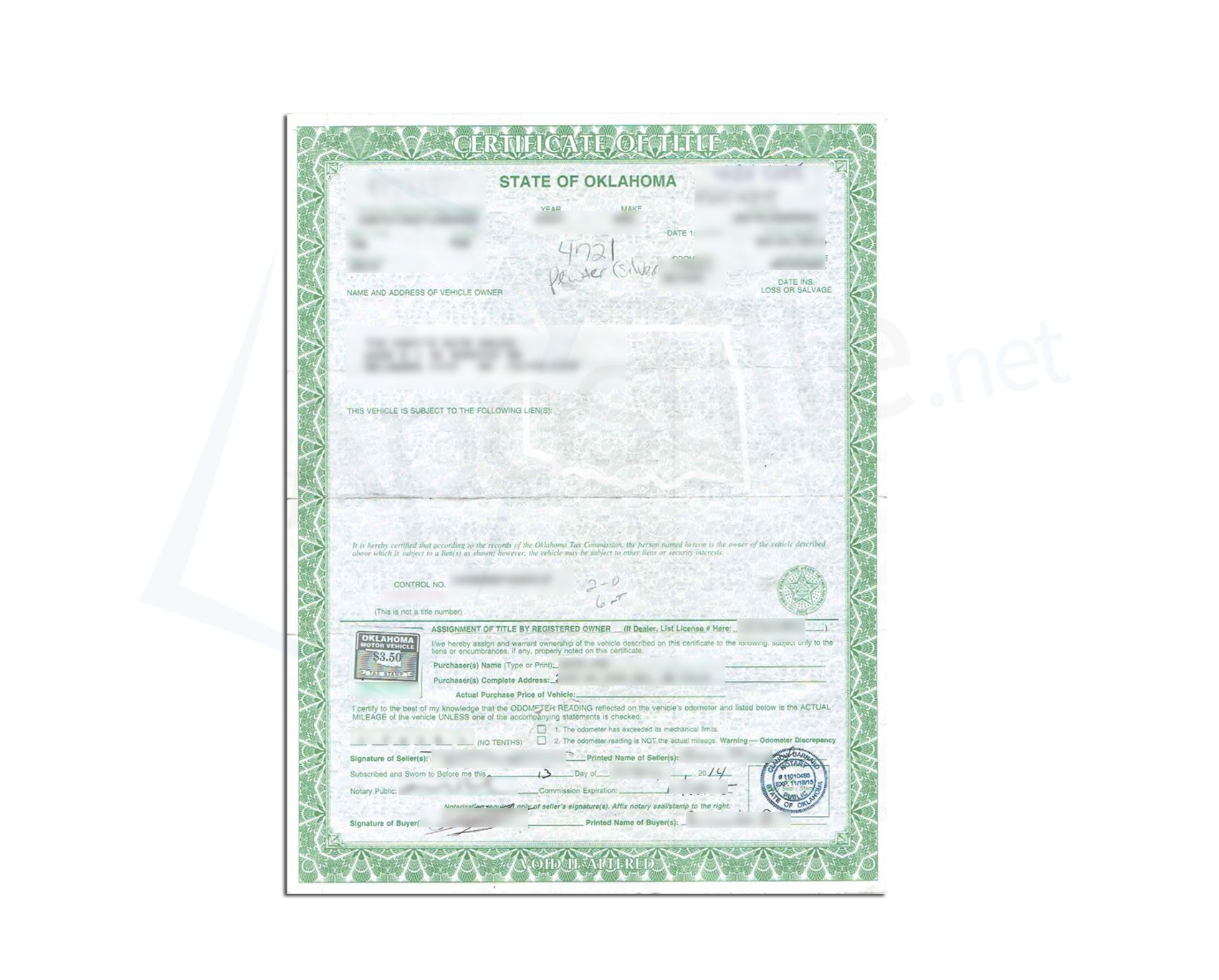State of Oklahoma Car Title sealed by a Public Notary