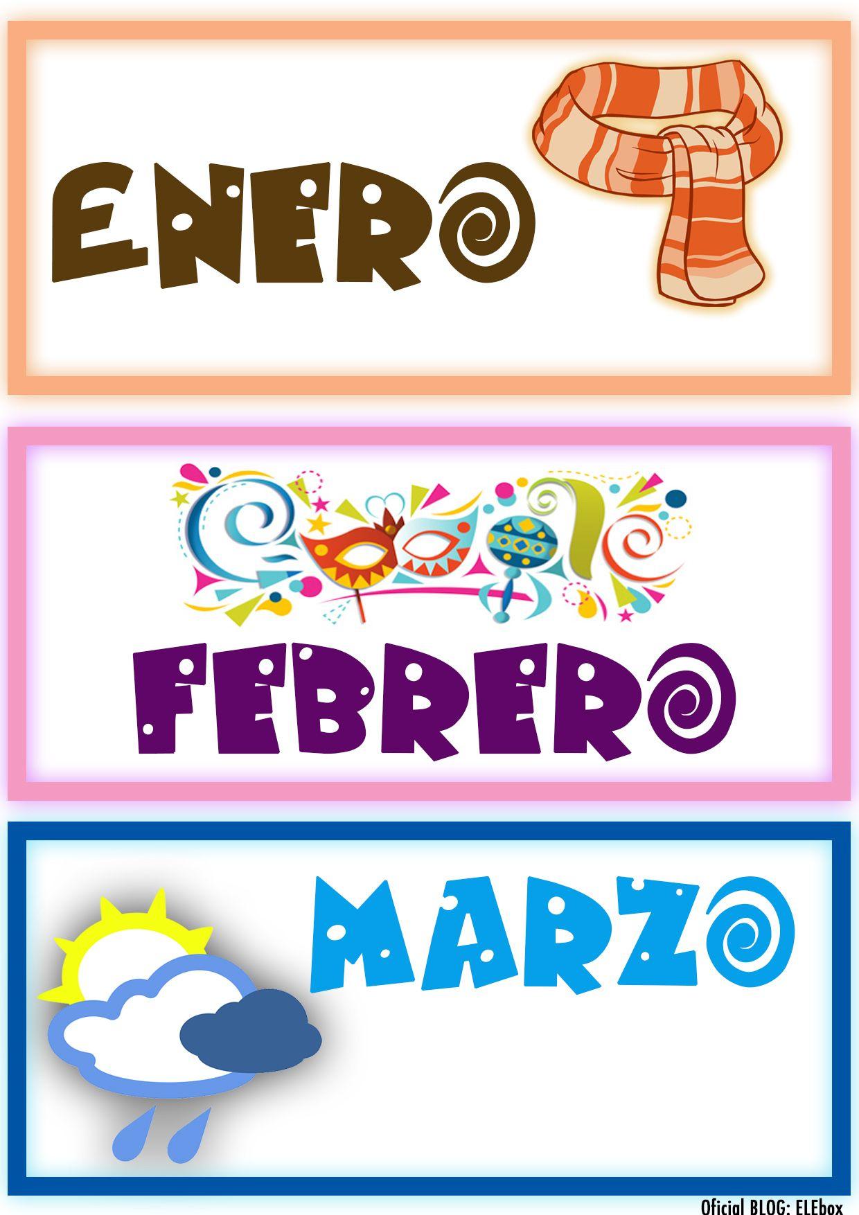 Los Meses Del Ano Enero Febrero Y Marzo