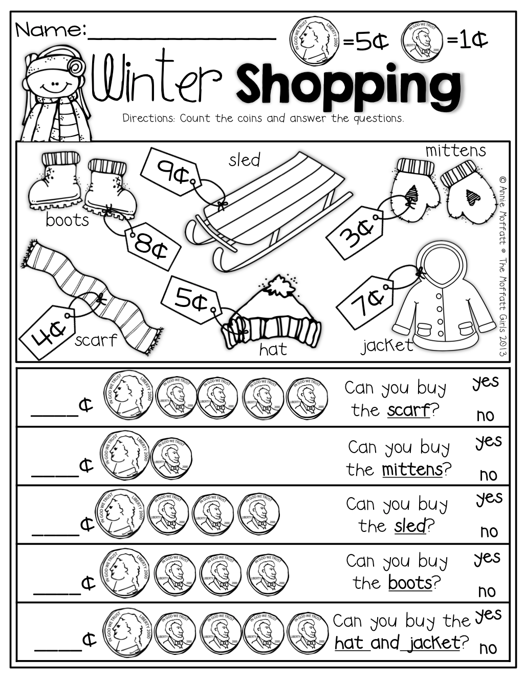 Winter Shopping With Nickels And Pennies Prefect For