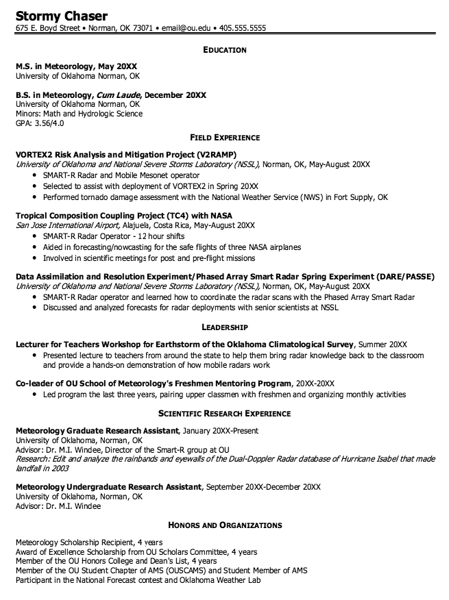 Meteorology Graduate Resume Samples http