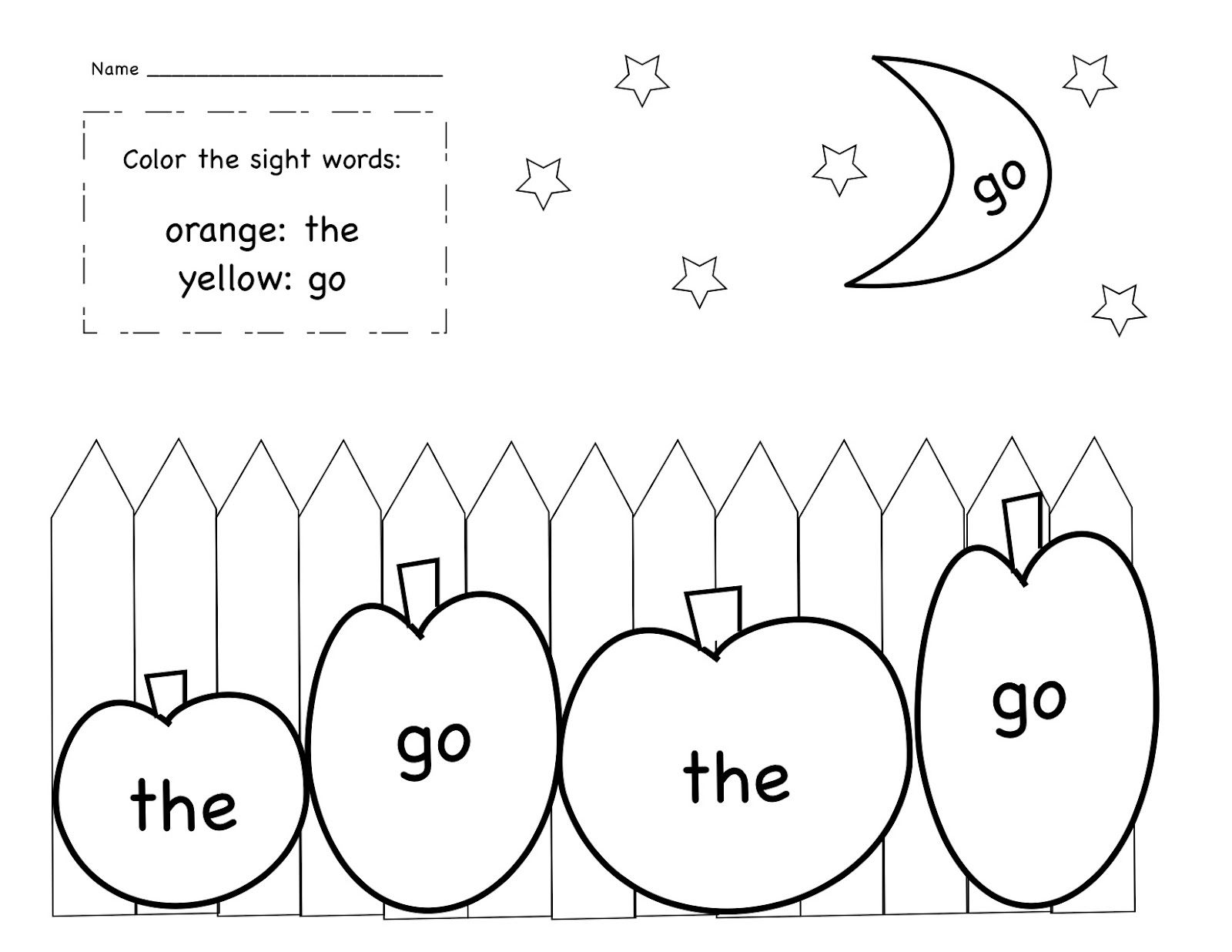 October Sight Word Coloring Sheet Freebie From Kinder