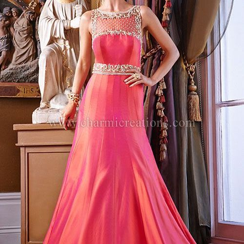 Evening Gowns   2 tone coral and orange fusion wedding gown with a