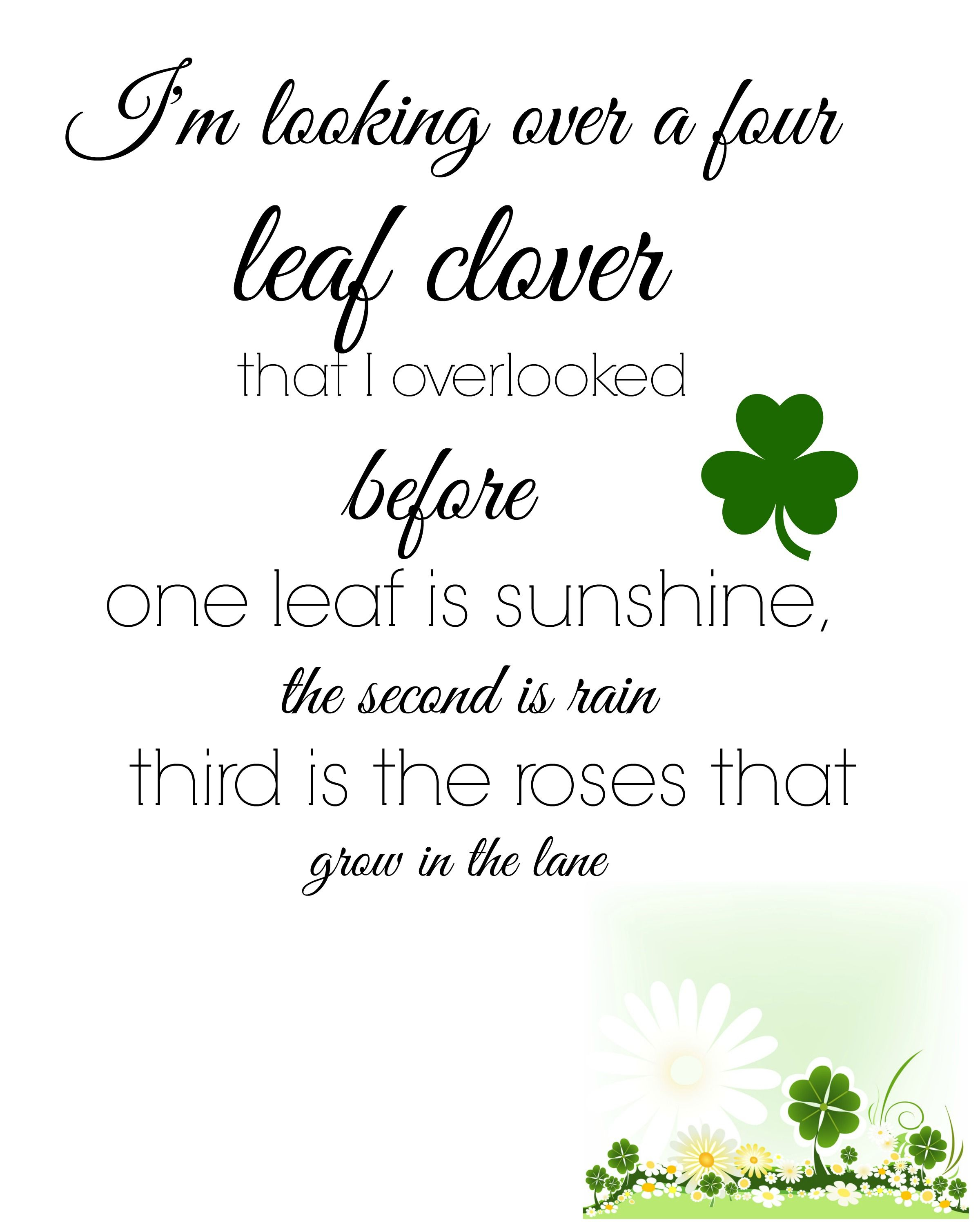 I M Looking Over A Four Leaf Clover