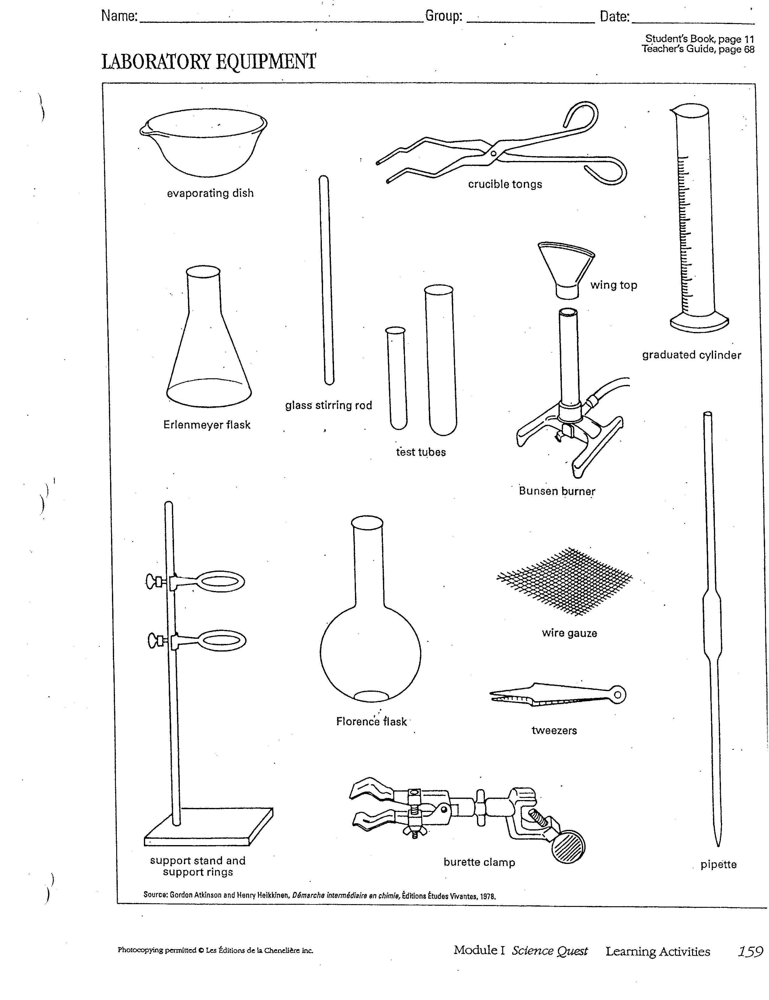 Lab Equipment Worksheet Chart