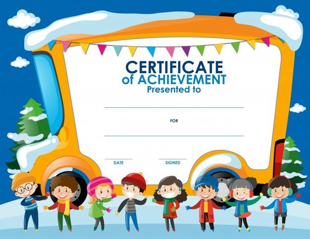 Certificate Template With Children In Winter Free Vector
