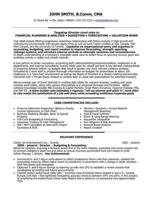 Example resume of financial manager – Financial Manager Job Description