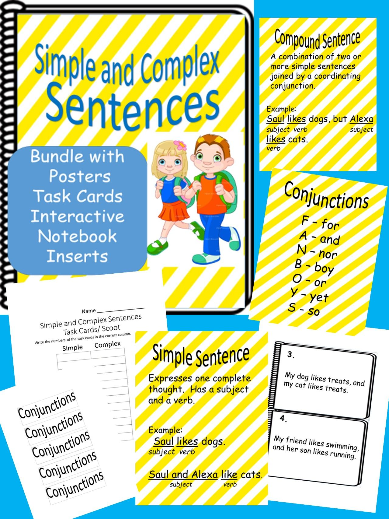 Simple And Complex Sentence Bundle Literacy Center Worksheets W Task Cards