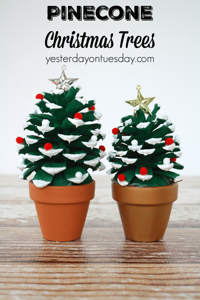 Pinecone Christmas Trees, a fun pinecone craft for kids or