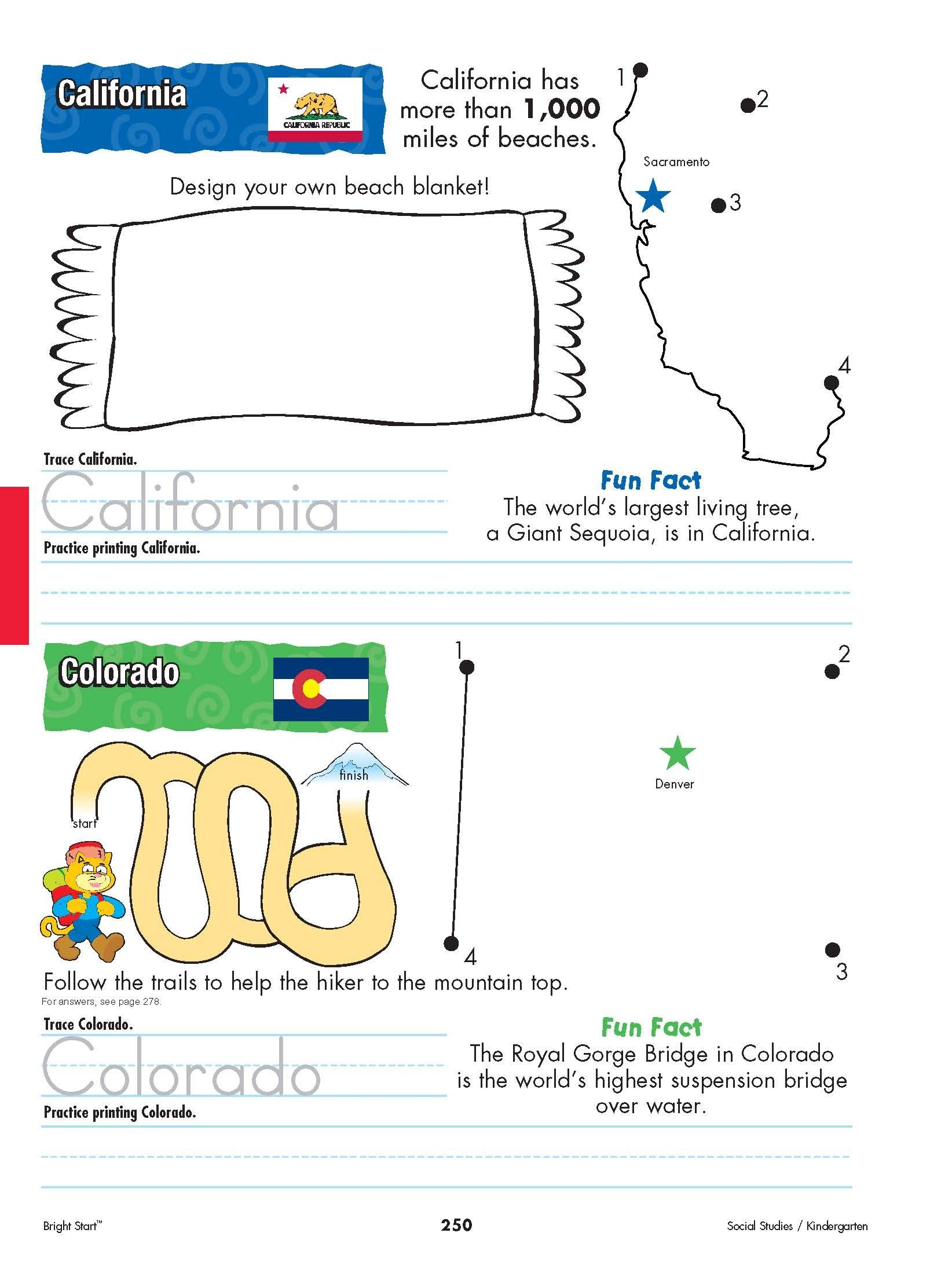 California And Colorado From Shore To Shore Begin Your Kindergarteners Stu S Of The United