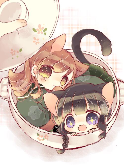 Kawaii cute anime girls digital art neko. . .cat girls
