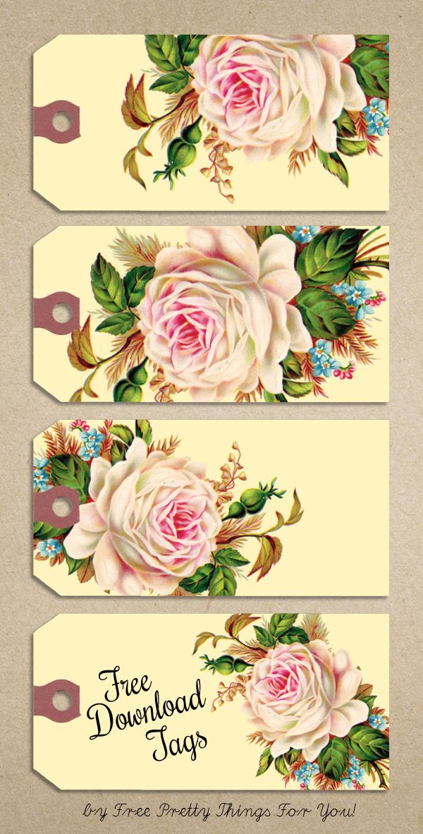 Free Printable Gift Tags Vintage Rose Manila Tags Free