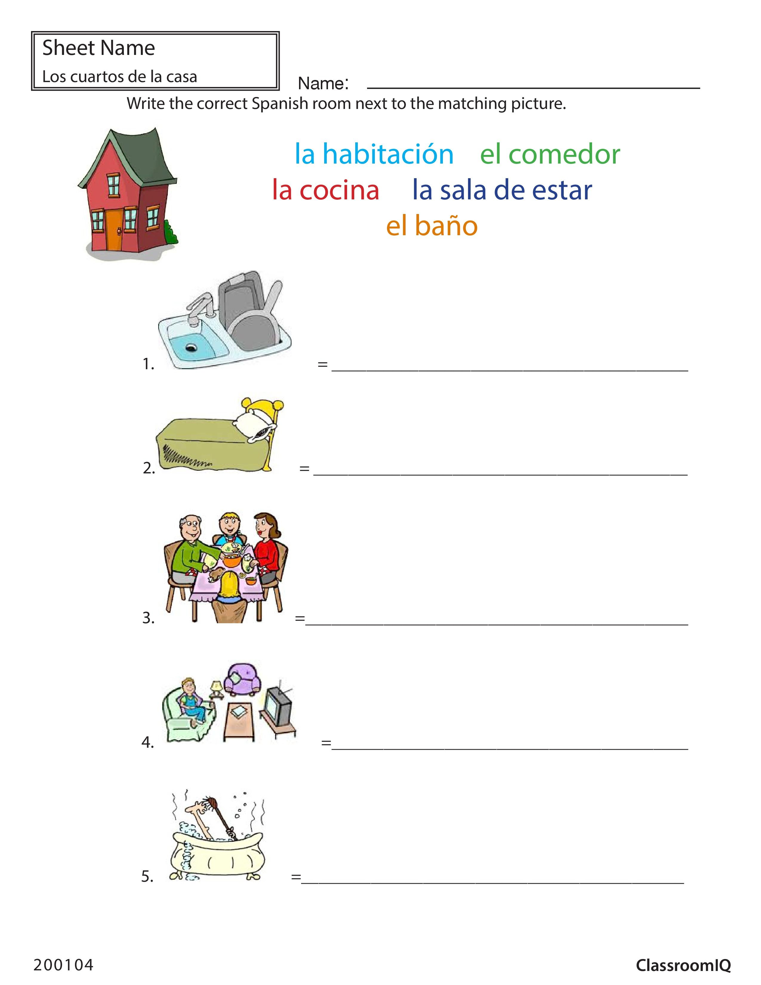Rooms In Spanish Spanishworksheets Classroomiq