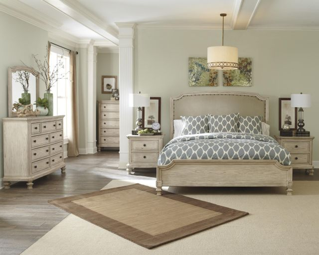 Demarlos Queen Upholstered Panel Headboard with Nailhead Trim by