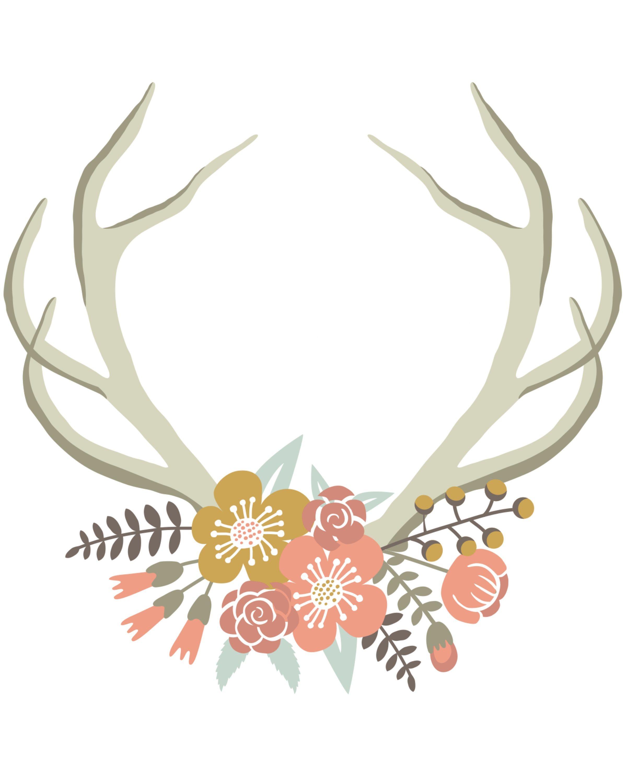 Floral Deer Crown free nursery or gallery wall printable