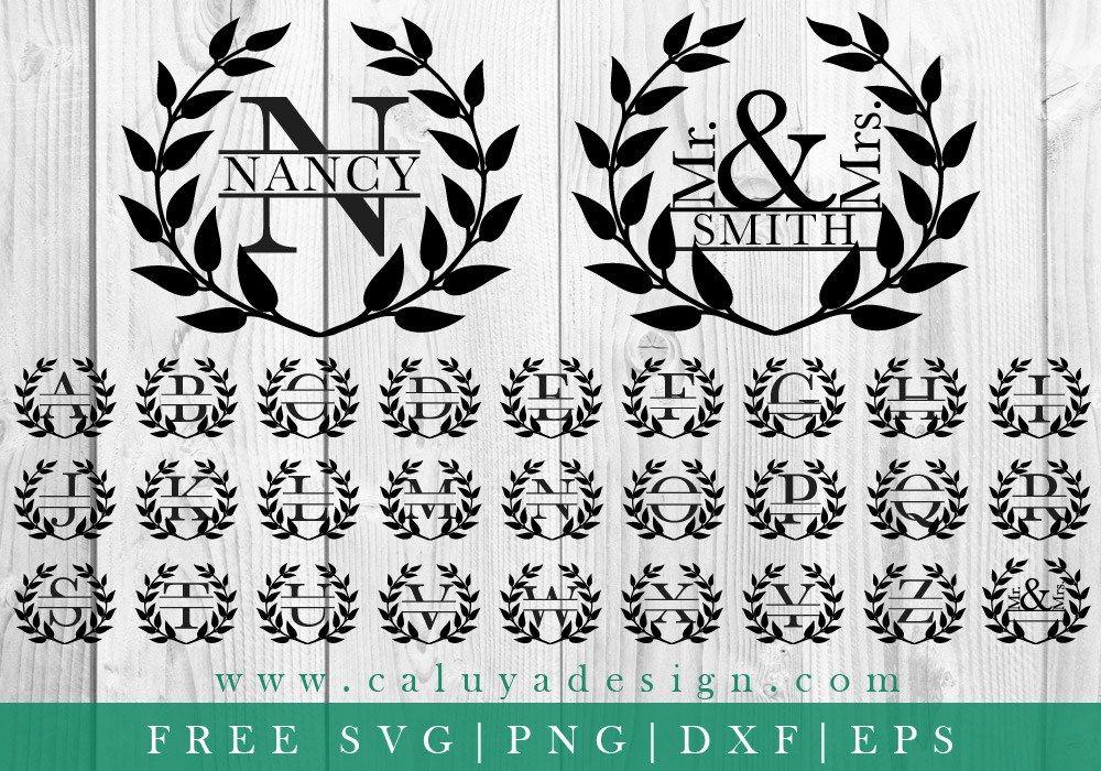 Wreath Monogram FREE SVG, PNG, EPS & DXF By Caluya Design