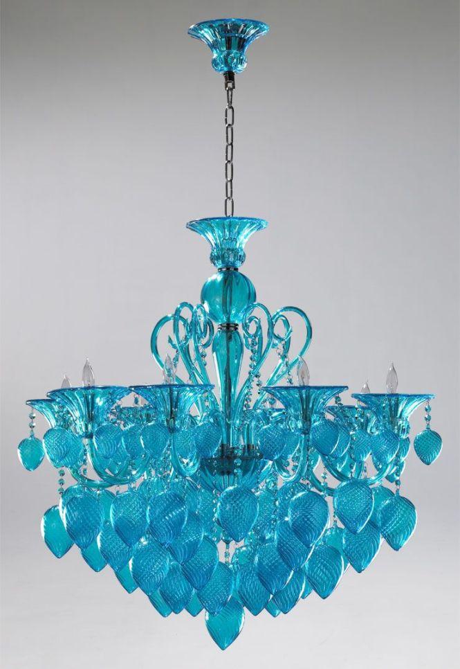 Murano Style Turquoise Chandelier